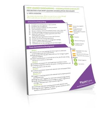 New Leader Assimilation Downloadable Worksheet